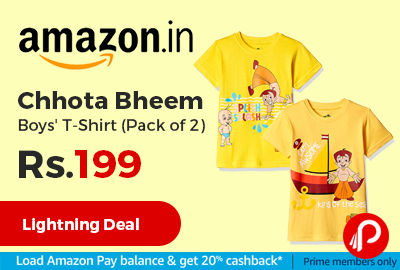 Chhota Bheem Boys' T-Shirt (Pack of 2) Just at Rs.199 Only - Amazon