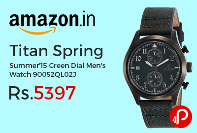 Titan Spring Summer'15 Green Dial Men's Watch 90052QL02J