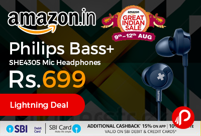 Philips Bass+ SHE4305 Mic Headphones