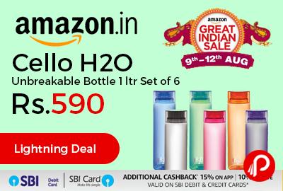 Cello H2O Unbreakable Bottle 1 ltr Set of 6