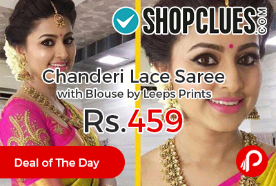 Chanderi Lace Saree with Blouse by Leeps