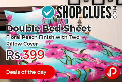 Double Bed Sheet Floral Peach Finish with Two Pillow Cover