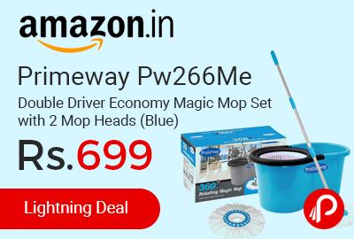 Primeway Pw266Me Double Driver Economy Magic Mop Set with 2 Mop Heads (Blue)