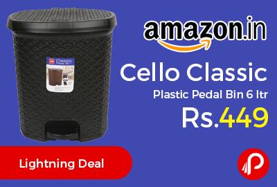 Cello Classic Plastic Pedal Bin 6 ltr