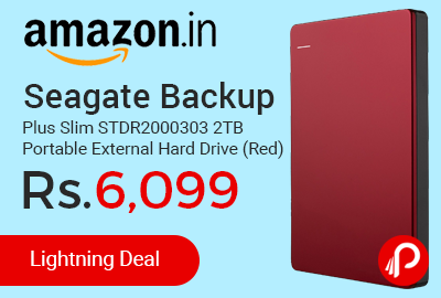 Seagate Backup Plus Slim STDR2000303 2TB Portable External Hard Drive (Red)