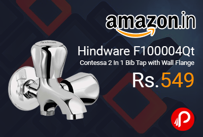 Hindware F100004Qt Contessa 2 In 1 Bib Tap with Wall Flange