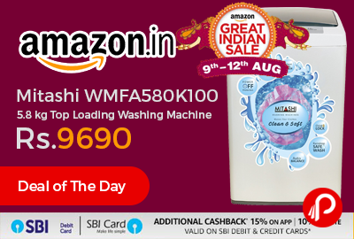 Mitashi WMFA580K100 5.8 kg Top Loading Washing Machine