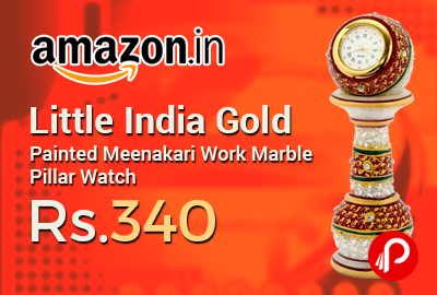 Little India Gold Painted Meenakari Work Marble Pillar Watch
