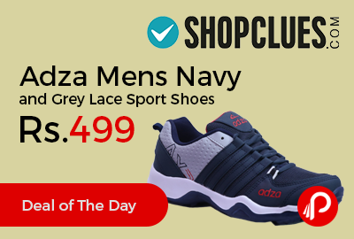 Adza Mens Navy and Grey Lace Sport Shoes