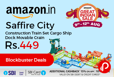 Saffire City Construction Train Set Cargo Ship Dock Movable Crain