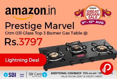 Prestige Marvel Gtm 03l Glass Top 3 Burner Gas Table