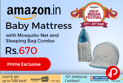Baby Mattress with Mosquito Net and Sleeping Bag Combo