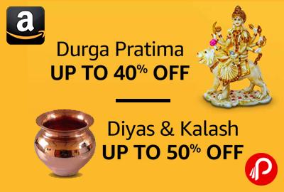 Durga Pratima and Diya & Kalash