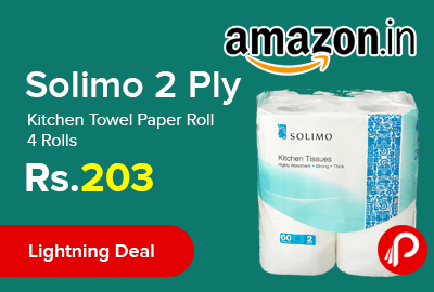 Solimo 2 Ply Kitchen Towel Paper Roll 4 Rolls