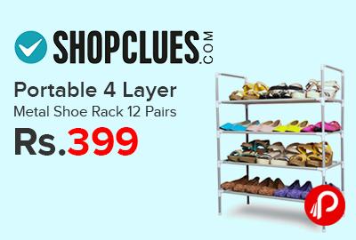 Portable 4 Layer Metal Shoe Rack 12 Pairs