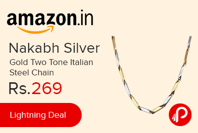 Nakabh Silver Gold Two Tone Italian Steel Chain
