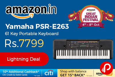 Yamaha PSR-E263 61 Key Portable Keyboard at Rs.7799 - Amazon