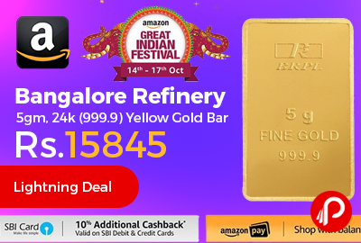 Bangalore Refinery 5gm, 24k (999.9) Yellow Gold Bar