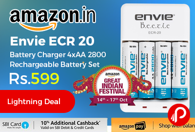 Envie ECR 20 Battery Charger 4xAA 2800 Rechargeable Battery Set