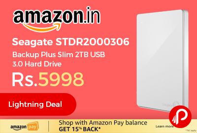 Seagate STDR2000306 Backup Plus Slim 2TB USB 3.0 Hard Drive