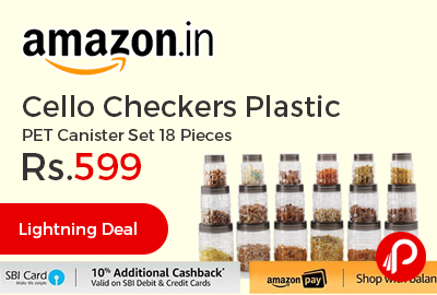 Cello Checkers Plastic PET Canister Set 18 Pieces