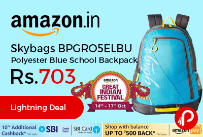 Skybags BPGRO5ELBU Polyester Blue School Backpack