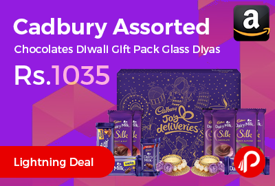 Cadbury Assorted Chocolates Diwali Gift Pack Glass Diyas