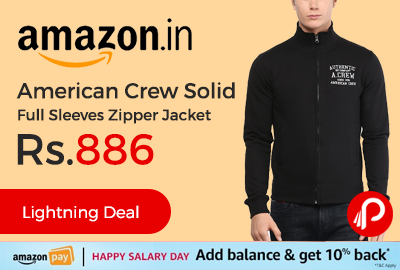 American Crew Solid Full Sleeves Zipper Jacket