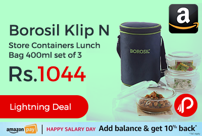 Borosil Klip N Store Containers Lunch Bag 400ml set of 3