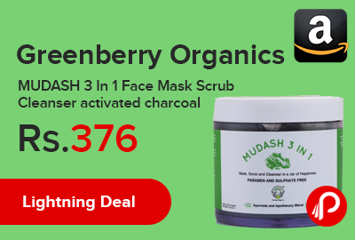 Greenberry Organics MUDASH 3 In 1 Face Mask Scrub Cleanser activated charcoal