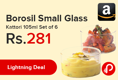 Borosil Small Glass Kattori 105ml Set of 6
