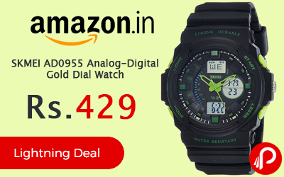 SKMEI AD0955 Analog-Digital Gold Dial Watch