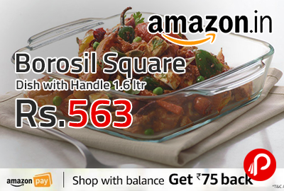 Borosil Square Dish with Handle 1.6 ltr