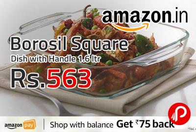 Borosil Square Dish with Handle 1.6 ltr